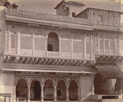 Private house with ornately-carved façade, Lashkar 13301427